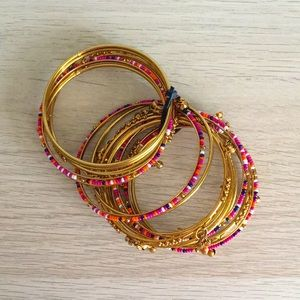 NWOT Bangles with Beads and Bell Charms S-M size